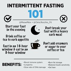 This post from @meowmeix summarizes my favorite kind of fasting protocol (16/8)- is this something youd be willing to try?  Want an easier way to help switch up your nutrition routine?  IF (eating within a restricted time period) can help you cut calories by limiting the time window youre eating in.  Below are some of the major beneficial changes that occur in your body when you fast: . Human growth hormone increases (helps with fat loss & muscle gain) . Insulin sensitivity improves and…