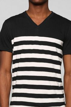 Urban Outfitters BDG Color Block Stripe V-neck Tee in Blue for Men - Lyst