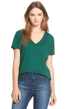 Madewell 'Whisper' Cotton V-Neck Pocket Tee available at #Nordstrom