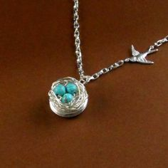 Locket Robin Egg Blue Bird Nest turquoise beads Silver Necklace