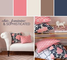 NAVY FLEUR CHINOISE PILLOW Designed By Caitlin Wilson Textiles via Stylyze Colorlife by General Paint Justin CL 2532W Flamingo CL 1435D Ottertail CLW 1002W Rhino Horn CL 2615A Working Class CLV 1171N