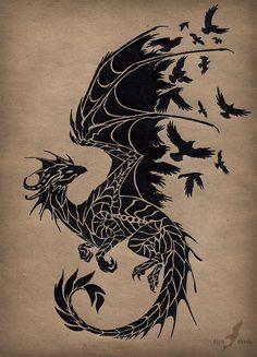 dragons-of-lore:  Black raven dragon by AlviaAlcedo