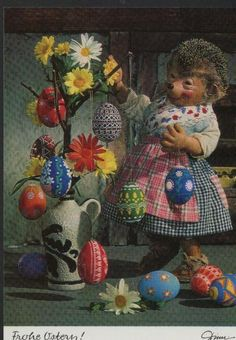 AK Mecki original Diehl No. 360 new unused Happy Easter Easter Egg Easter greetings Vintage Postcards, Vintage Images, Easter Bunny Pictures, Romantic Drawing, Vernal Equinox, Never Grow Up, Bisque Doll, Kitsch, Happy Easter