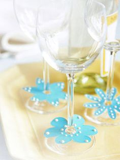 Make Your Own Wine Tags: Enhance same-old stemware with quick-and-easy wine tags that let guests know whose drink is whose.