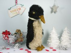"""Monty a gorgeous Old 1930's Penguin 13"""" possibly by Chad Valley  www.onceuponatimebears.co.uk"""