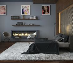 Bedroom Design, Black And Gray Modern Bedroom Colors Also Modern Gas Fireplace Also Modern Bed Frame Design With Gray Bedspread And Pillowca...