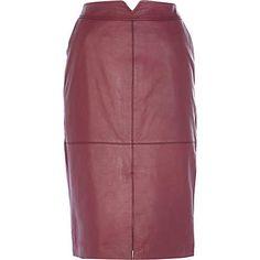 Dark pink leather split front pencil skirt €135.00