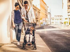 couple with child in city