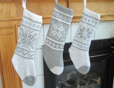 grey and white knit stocking