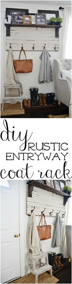 DIY rustic entryway coat rack - A super simple way to create organization in any size entryway or mud room! A must pin! Country Home Decorating, Country Homes Decor, Country Ideas For Home, Rustic Decorations For Home, Rustic Modern Decor Diy, Entry Way Decor Ideas, Living Room Decorations, Easy Home Decor, Simple Bedroom Decor