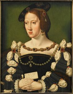 Eleanor of Austria, Queen of France by Joos van Cleve. Second wife of King Francis I of France Mode Renaissance, Costume Renaissance, Italian Renaissance Art, Renaissance Portraits, Renaissance Paintings, Renaissance Fashion, Historical Costume, Historical Clothing, European History