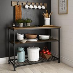 Gracie Oaks Delesha Multifunction Prep Table with Wood Top & Reviews   Wayfair Industrial Kitchen Island, Oak Beds, Vintage Industrial Decor, Industrial Design, Wood Counter, Open Shelving, Kitchen Furniture, Storage Spaces, House