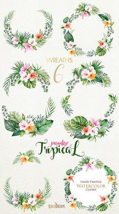 Aquarelle fleurs & feuilles Tropic couronnes Clipart