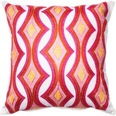 Add a pop of pattern to your living room sofa or guest bedding with this bold cotton pillow cover, featuring an embroidered geometric design.
