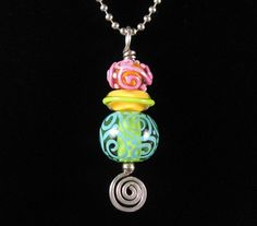 Amelia  One Handmade Lampwork Glass Silver Pendant by NicholeBeads