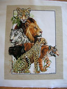 Cross Stitch  Exotic Cats  Completed and Ready door LittlestSister