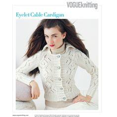 EYELET CABLE CARDIGAN Vogue Knitting Winter 2008/09 #11