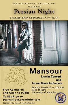 MANSOUR Live in Concert: March 26th #Memphis  University of Memphis  facebook.com/psamemphis
