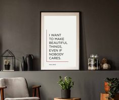 Beautiful Things Poster | Saul Bass | Designer Quote | Inspirational | Typography Wall Art | Home Decor | Office Decor | Digital Download