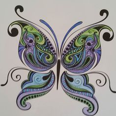 Finished Coloring My Butterfly Adultcoloringbook Adultcoloring Coloringbook Coloredpencils Colorama