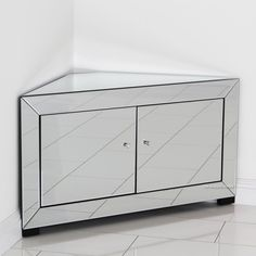 Venetian Mirrored Corner TV Cabinet - to fit TV's up to Bathroom Inspiration, Contemporary Bathroom Inspiration, Mirrored Furniture, Corner Tv Cabinets, Furniture, Front Room, Home And Family, Cabinet, Tv Cabinets