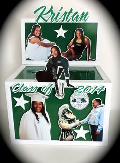 Lots of photo cutouts on this graduation gift card box.  #MichiganState #Spartans #graduation #moneybox