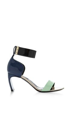 Ankle Strap Sandal In Dark Blue And Lime by Nicholas Kirkwood for Preorder on Moda Operandi