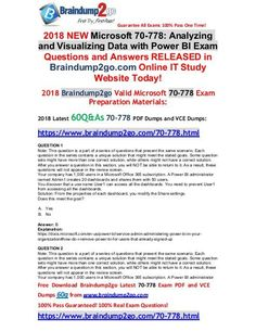 [June-2018-Version]Braindump2go 70-778 PDF and 70-778 VCE Dumps 60Q Free Share(1-11) Question And Answer, This Or That Questions, Cloud Data, Data Science, Machine Learning, Pdf, Study, June, Microsoft