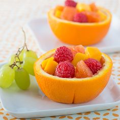 Fruit Salad in Orange Bowls   Your kids will LOVE eating their fruit outta one of these great orange bowls!