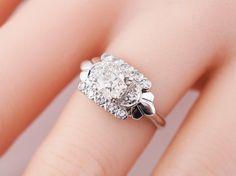 Antique Engagement Ring Art Deco .59ct Old European Cut Diamond in 14k White Gold. Minneapolis, MN.