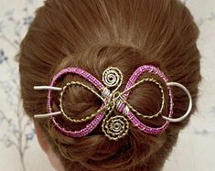"""""""Pink and Silver Hair bun holder, Fancy Silver Wire Bun Holder, Large size for thicker hair,pink and yellow wire hair bun holder. Hair Cuffs, Thicker Hair, Hair Sticks, Silver Hair, Bun Hairstyles, Wire Wrapped Jewelry, Pink Hair, Hair Pins, Shawl"""