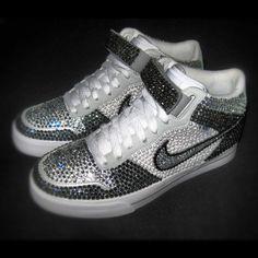 nike crystal bling crystal shoes Cinderella Rocked Her Fella sparkle glitter crystal toes shoes trainers handmade for the bride.