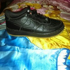 Nike Air Force 1's They have a crock feel all around the shoe, and the bottom is tan, Nike Shoes Sneakers