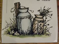 2 OLD MILK CANS. Sells for 5.99. Made by: Art Impressions rubber stamps. You can purchase all items in my ebay store: Pat's Rubber Stamps & Scrapbooks, Click on the picture & see the listing , or call me 423-357-4334 with order, We take PayPal. You get FREE SHIPPING ON PHONE ORDERS of $30.00 or more. If it says sold I have more. Use my search engine to find the items you are interested in