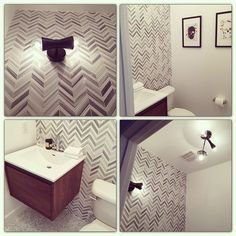Powder room almost complete.  Stuck on choosing a vanity mirror.  Loving it so far.  #carerra #marble #studs #gray #white #cedarandmoss #modern #floatingvanity #chevron #dunnedwards #white #casablanca #pretendingtobeaninteriordesigner