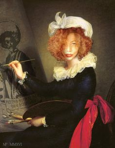 Marie-Noëlle Pécarrère        ViVa Zapata ! d'après l'autoportrait de Élisabeth Vigée Le Brun .(1790)