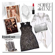 """Soirée de Luxe with bebe Holiday: Contest Entry"" by vkmd on Polyvore featuring Bebe, Gianvito Rossi and MAC Cosmetics"