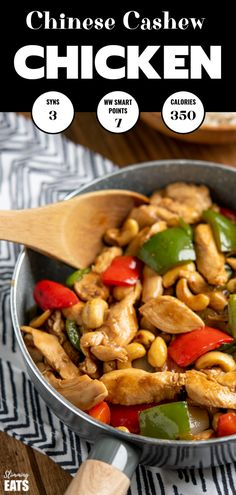 Low Syn Cashew Cashew Chicken - amazingly tender pieces of chicken in a delicious sauce with cashew nuts and vegetables.Dairy Free Slimming World and Weight Watchers friendly. Nut Recipes, World Recipes, Asian Recipes, Dinner Recipes, Healthy Recipes, Recipies, Chinese Recipes, Thai Recipes, Healthy Dinners