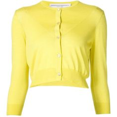 Carolina Herrera Cropped Fine Knit Cardigan ($1,190) ❤ liked on Polyvore featuring tops, cardigans, cropped cardigan, yellow top, yellow cashmere cardigan, yellow cardigan and cardigan top