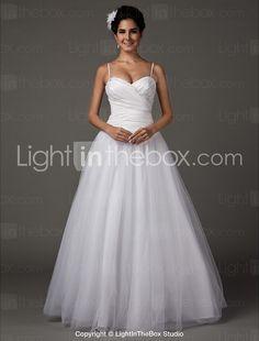 A-line Sweetheart Spaghetti Straps Floor-length Taffeta Wedding Dress-ZZKKO