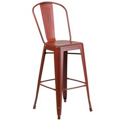 Flash Furniture Distressed Kelly Red Barstool [ET-3534-30-RD-GG]