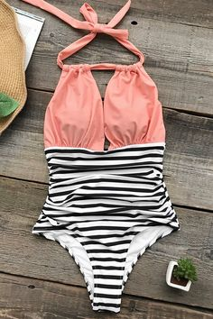 Cupshe stay young stripe one-piece swimsuit beach swimwear bathing suit cyy Bathing Suits Canada, Cute Bathing Suits, Bathing Suits One Piece, Cheap Swimsuits, Women Swimsuits, Halter Swimsuits, Boutique Bathing Suits, Jolie Lingerie, Halter One Piece Swimsuit
