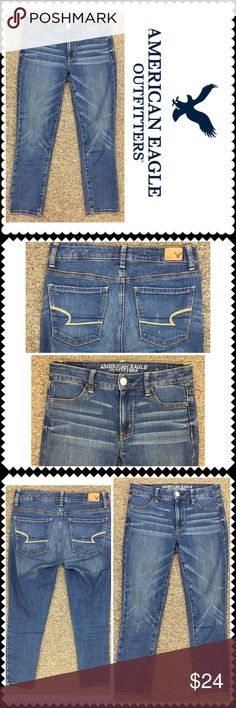 """Hi rise jegging crop jeans American Eagle 2 Awesome jeans by American Eagle. Hi-Rise crop jegging. Super stretch. Sz 2 (14"""" across waist, 23"""" inseam, 8.5"""" rise) American Eagle Outfitters Jeans Skinny"""
