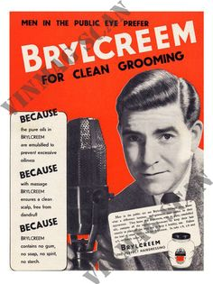 Brylcreem, Mens Hairdressing Advert, 1950s..the smell of bryl cream will always make me remember my grandad!