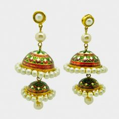 Double jhumka earrings inspired by Mughal design. http://www.tadpolestore.com/confusion-fashion-accessories #indian #india #designer #jewellery #earrings #jhumka #wedding #accessories #pearls