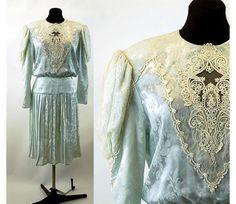 1980s dress pleated drop waist Edwardian style by vintagerunway
