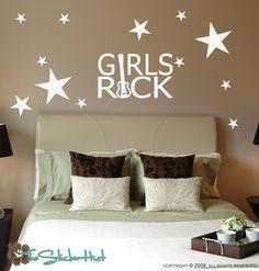 Girls Rock Guitar Star  Girls Bedroom  Wall Decor by thestickerhut