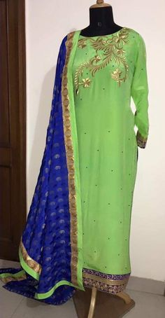 Graceful Light Green and Blue Color Creap Machine Embroidered Suit With Dupatta