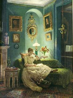An Evening at Home, 1888 by Sir Edward John Poynter - Reproduction Oil Painting Victorian Paintings, Victorian Art, Canvas Wall Art, Wall Art Prints, Canvas Prints, Watercolor Portraits, Watercolor Paintings, Cultural, Renaissance Art