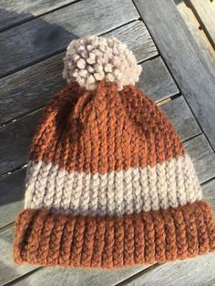 8ad716f48 Handmade Russet and Beige acrylic wool hat